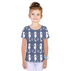 Seahorse And Shell Pattern Kids  One Piece Tee by Simbadda