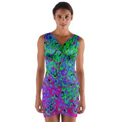 Green Purple Pink Background Wrap Front Bodycon Dress by Simbadda