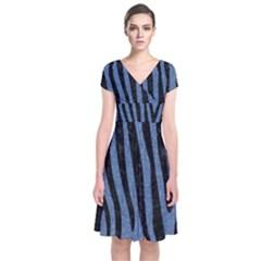 Skin4 Black Marble & Blue Denim Short Sleeve Front Wrap Dress by trendistuff