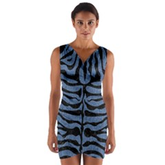 Skin2 Black Marble & Blue Denim (r) Wrap Front Bodycon Dress by trendistuff