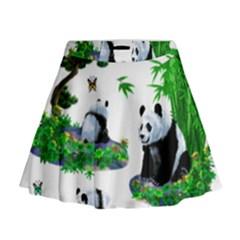 Cute Panda Cartoon Mini Flare Skirt by Simbadda