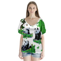 Cute Panda Cartoon Flutter Sleeve Top by Simbadda