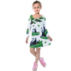 Cute Panda Cartoon Kids  Long Sleeve Velvet Dress by Simbadda