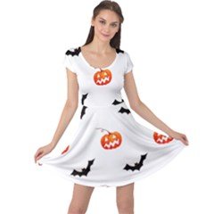 Halloween Seamless Pumpkin Bat Orange Black Sinister Cap Sleeve Dresses