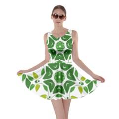 Leaf Green Frame Star Skater Dress