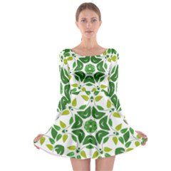 Leaf Green Frame Star Long Sleeve Skater Dress by Alisyart