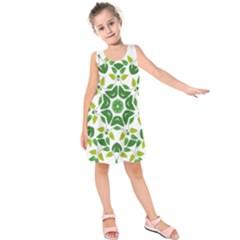 Leaf Green Frame Star Kids  Sleeveless Dress by Alisyart