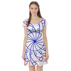 Line  Red Blue Circle Short Sleeve Skater Dress by Alisyart