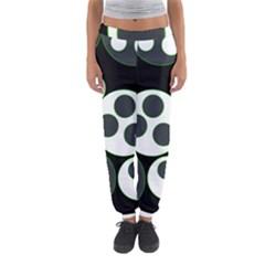 Origami Leaf Sea Dragon Circle Line Green Grey Black Women s Jogger Sweatpants by Alisyart