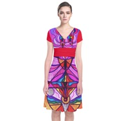 Devine Feminine Activation - Short Sleeve Front Wrap Dress by tealswan
