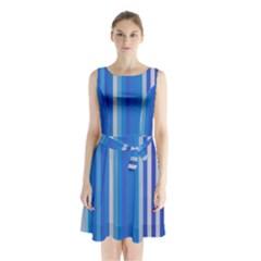 Color Stripes Blue White Pattern Sleeveless Chiffon Waist Tie Dress by Simbadda