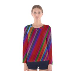 Color Stripes Pattern Women s Long Sleeve Tee by Simbadda