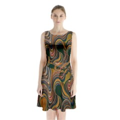 Swirl Colour Design Color Texture Sleeveless Chiffon Waist Tie Dress by Simbadda