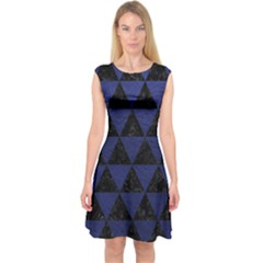 Triangle3 Black Marble & Blue Leather Capsleeve Midi Dress by trendistuff
