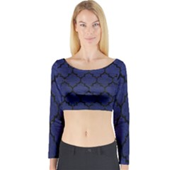 Tile1 Black Marble & Blue Leather (r) Long Sleeve Crop Top (tight Fit) by trendistuff