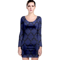 Tile1 Black Marble & Blue Leather (r) Long Sleeve Bodycon Dress by trendistuff