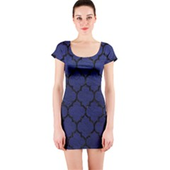 Tile1 Black Marble & Blue Leather (r) Short Sleeve Bodycon Dress by trendistuff