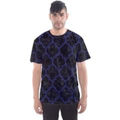Tile1 Black Marble & Blue Leather Men s Sports Mesh Tee by trendistuff