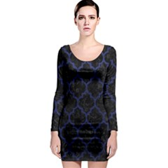 Tile1 Black Marble & Blue Leather Long Sleeve Bodycon Dress by trendistuff