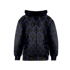Tile1 Black Marble & Blue Leather Kids  Zipper Hoodie by trendistuff
