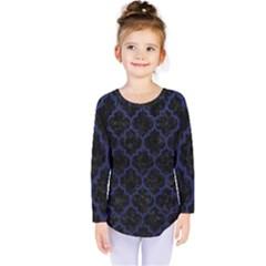 Tile1 Black Marble & Blue Leather Kids  Long Sleeve Tee by trendistuff