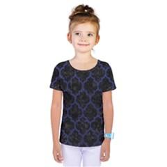 Tile1 Black Marble & Blue Leather Kids  One Piece Tee by trendistuff