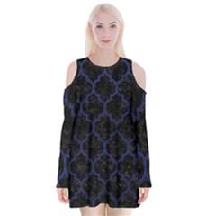 Tile1 Black Marble & Blue Leather Velvet Long Sleeve Shoulder Cutout Dress by trendistuff