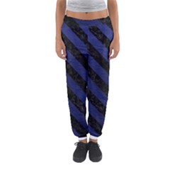 Stripes3 Black Marble & Blue Leather (r) Women s Jogger Sweatpants by trendistuff