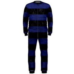 Stripes2 Black Marble & Blue Leather Onepiece Jumpsuit (men) by trendistuff