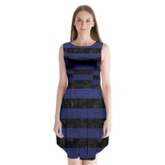 Stripes2 Black Marble & Blue Leather Sleeveless Chiffon Dress   by trendistuff