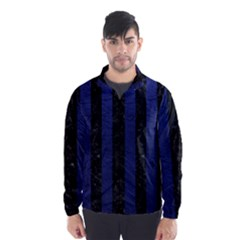 Stripes1 Black Marble & Blue Leather Wind Breaker (men) by trendistuff