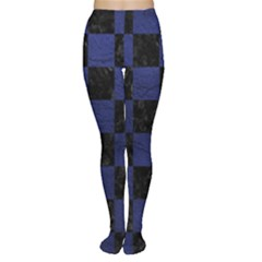 Square1 Black Marble & Blue Leather Tights by trendistuff