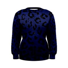 Skin5 Black Marble & Blue Leather Women s Sweatshirt by trendistuff