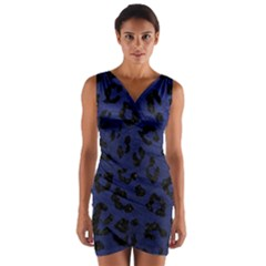 Skin5 Black Marble & Blue Leather Wrap Front Bodycon Dress by trendistuff