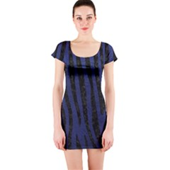 Skin4 Black Marble & Blue Leather Short Sleeve Bodycon Dress by trendistuff