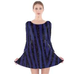 Skin4 Black Marble & Blue Leather Long Sleeve Velvet Skater Dress by trendistuff