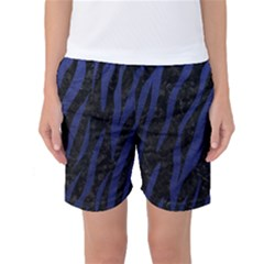 Skin3 Black Marble & Blue Leather Women s Basketball Shorts by trendistuff