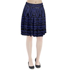 Skin2 Black Marble & Blue Leather (r) Pleated Skirt by trendistuff