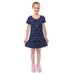 Skin2 Black Marble & Blue Leather (r) Kids  Short Sleeve Velvet Dress by trendistuff