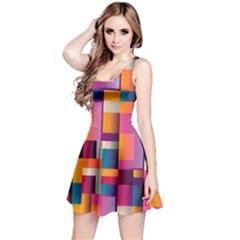 Abstract Background Geometry Blocks Reversible Sleeveless Dress by Simbadda