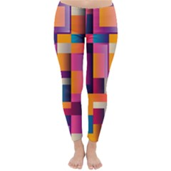 Abstract Background Geometry Blocks Classic Winter Leggings by Simbadda
