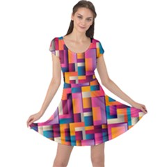 Abstract Background Geometry Blocks Cap Sleeve Dresses by Simbadda