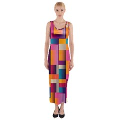 Abstract Background Geometry Blocks Fitted Maxi Dress by Simbadda