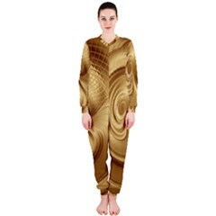 Gold Background Texture Pattern Onepiece Jumpsuit (ladies)  by Simbadda