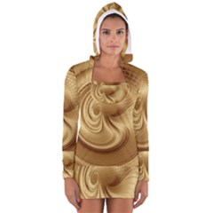 Gold Background Texture Pattern Women s Long Sleeve Hooded T Shirt by Simbadda