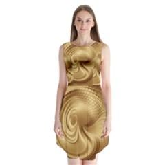 Gold Background Texture Pattern Sleeveless Chiffon Dress   by Simbadda