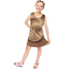 Gold Background Texture Pattern Kids  Tunic Dress by Simbadda