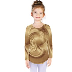 Gold Background Texture Pattern Kids  Long Sleeve Tee by Simbadda