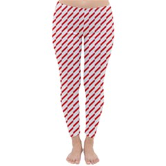 Pattern Red White Background Classic Winter Leggings by Simbadda