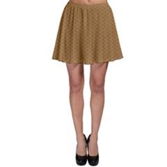 Pattern Honeycomb Pattern Brown Skater Skirt by Simbadda